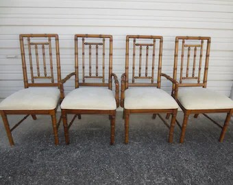 bamboo chairs set of chair etsy 4 faux spindles hollywood regency dining palm beach four dixie cottage coastal brown