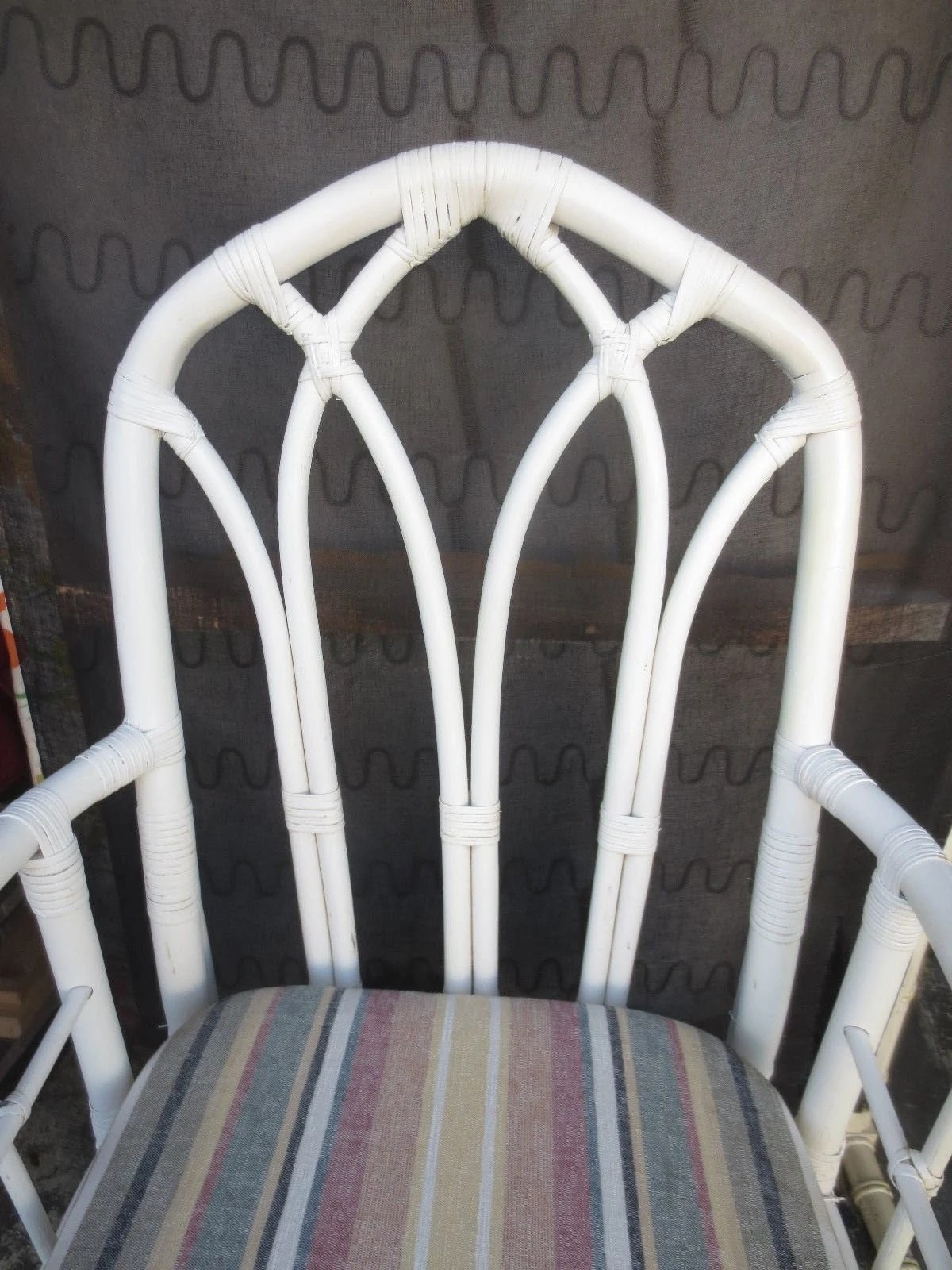 Bamboo Chairs Pair Bamboo Chairs Cathedral Mcguire Sty Hollywood Regency 2 Rattan Palm Beach Captain Arms Coastal Cottage Wicker Arms Shabby Chic Dining
