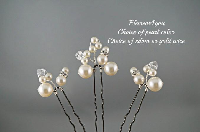 sale 008 bridal hair pins, set of 3 u pins, pearl hair piece, swarovski ivory bridal hair do, hair accessories for bride, wedding party hair