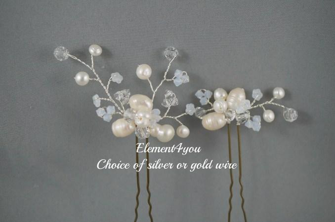 sale 010 bridal freshwater pearls hair pins set of 2 hair picks wedding hair accessories white pearl hair piece, bridesmaid hair bridal gift