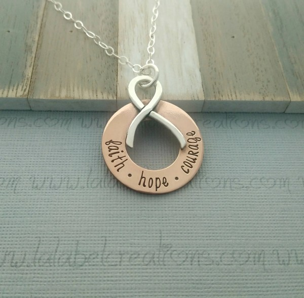 Cancer Ribbon Necklace Breast Jewelry Inspirational