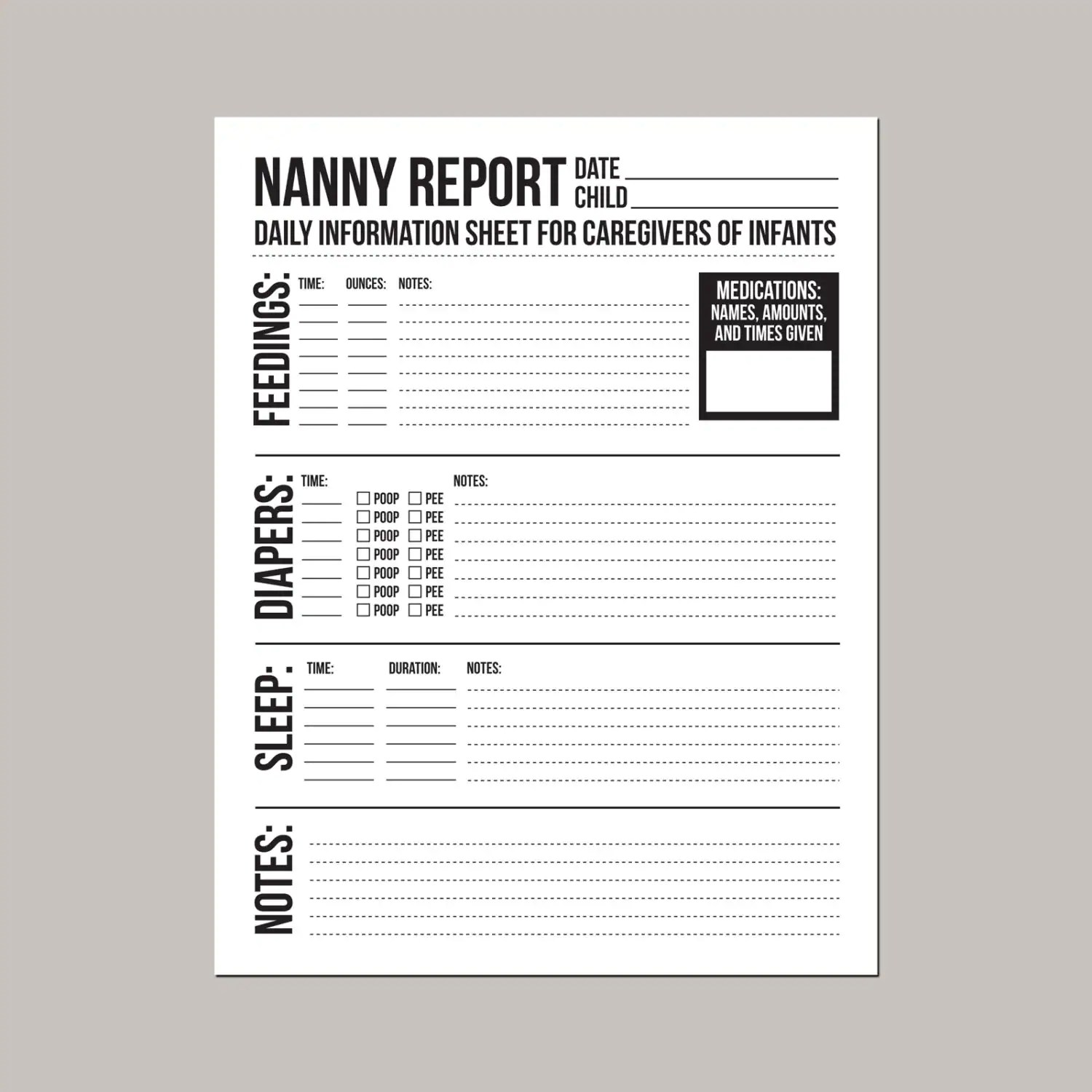 Nanny Report Daily Information Sheet For Caregivers Of