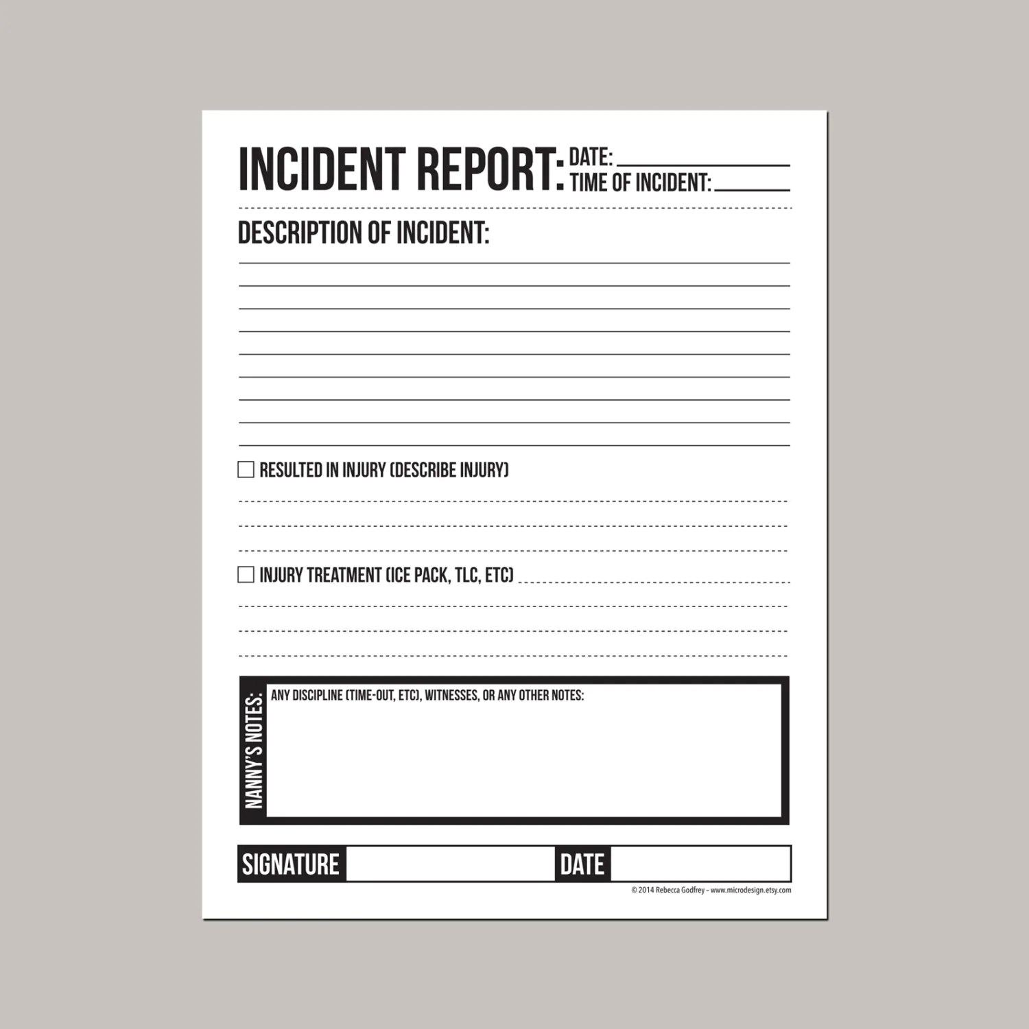 Incident Report For Nanny Or Daycare Worker