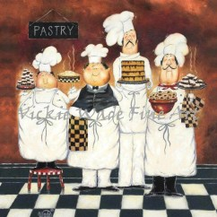 Kitchen Chef Decor Stove Hoods Etsy Chefs Art Print Fat Paintings Wall Four Tall Pastry Bakers Men Vickie Wade