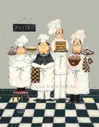 Fat Chefs Art Print chef paintings art kitchen art wall   Etsy