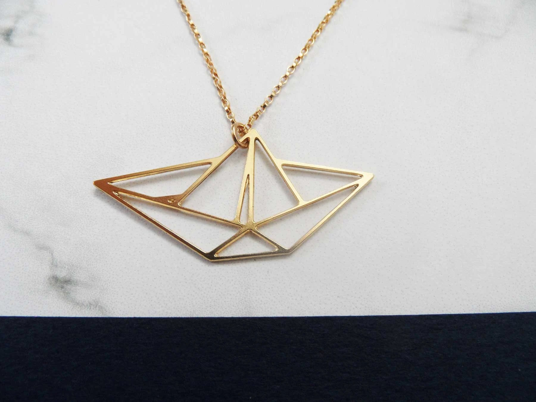 origami jewelry boat necklace origami necklace boat