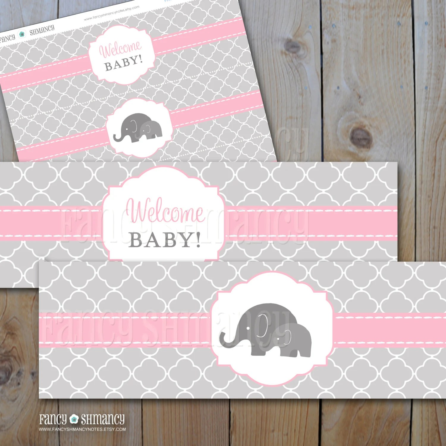 Elephant Baby Shower Water Bottle Labels Pink And Grey