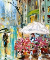 paris spring rain painting in oil