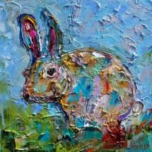 rabbit painting original oil abstract
