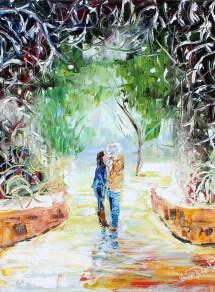 custom original oil painting wedding