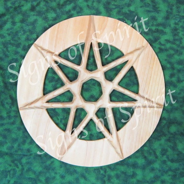 Seven Pointed Fairy Star Of Enchantment Wide Band Wiccan