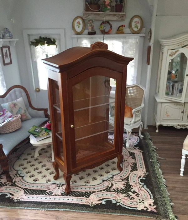 Miniature Walnut Display Cabinet Curio Clear Front