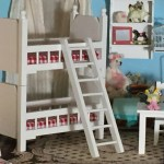 Miniature White Bunk Beds With Ladder Mini Bunkbeds Dollhouse Miniature 1 12 Scale Dollhouse Furniture Red And White Mattress
