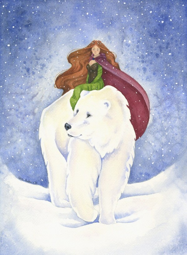Fairy Tale Art Print Polar Bear Journey Watercolor