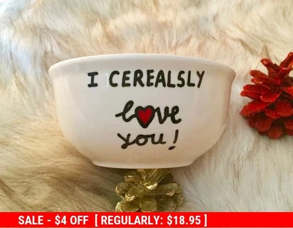 Download I Cerealsly Love You Cereal Bowl Hand Painted Cereal Bowl ...