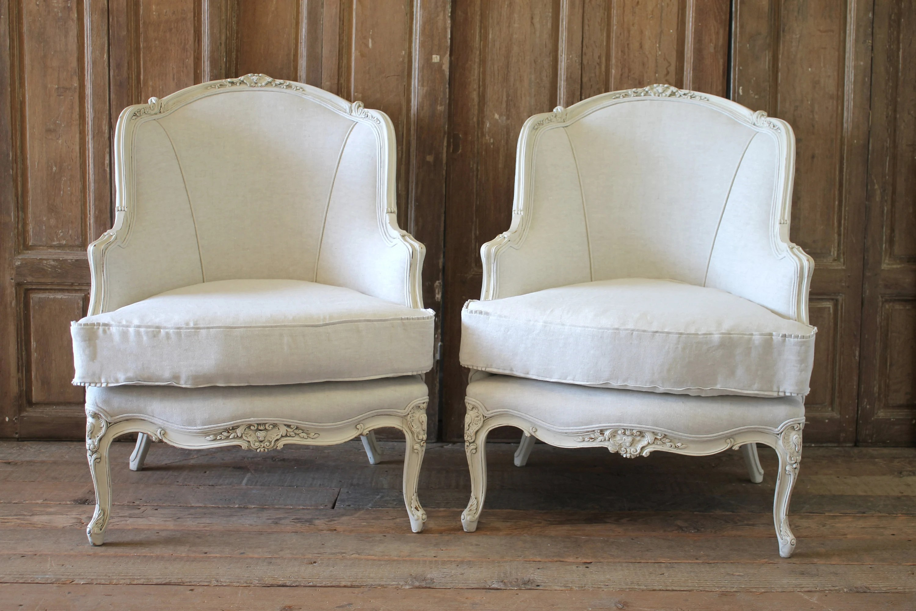 bergere chairs for sale wholesale party tables and etsy pair of painted white louis xv style linen upholstered