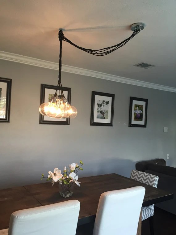 Swag Cluster Chandelier Off Center Ceiling Light Dining Room Etsy