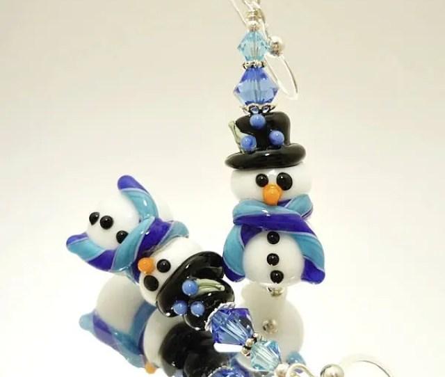 Blue White Snowman Earrings Christmas Earrings Lampwork Earrings Glass Bead Earrings Christmas Jewelry Glass Bead Jewelry Fun Earrings