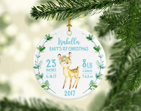 Babys Christmas Ornament Girl Personalized Baby