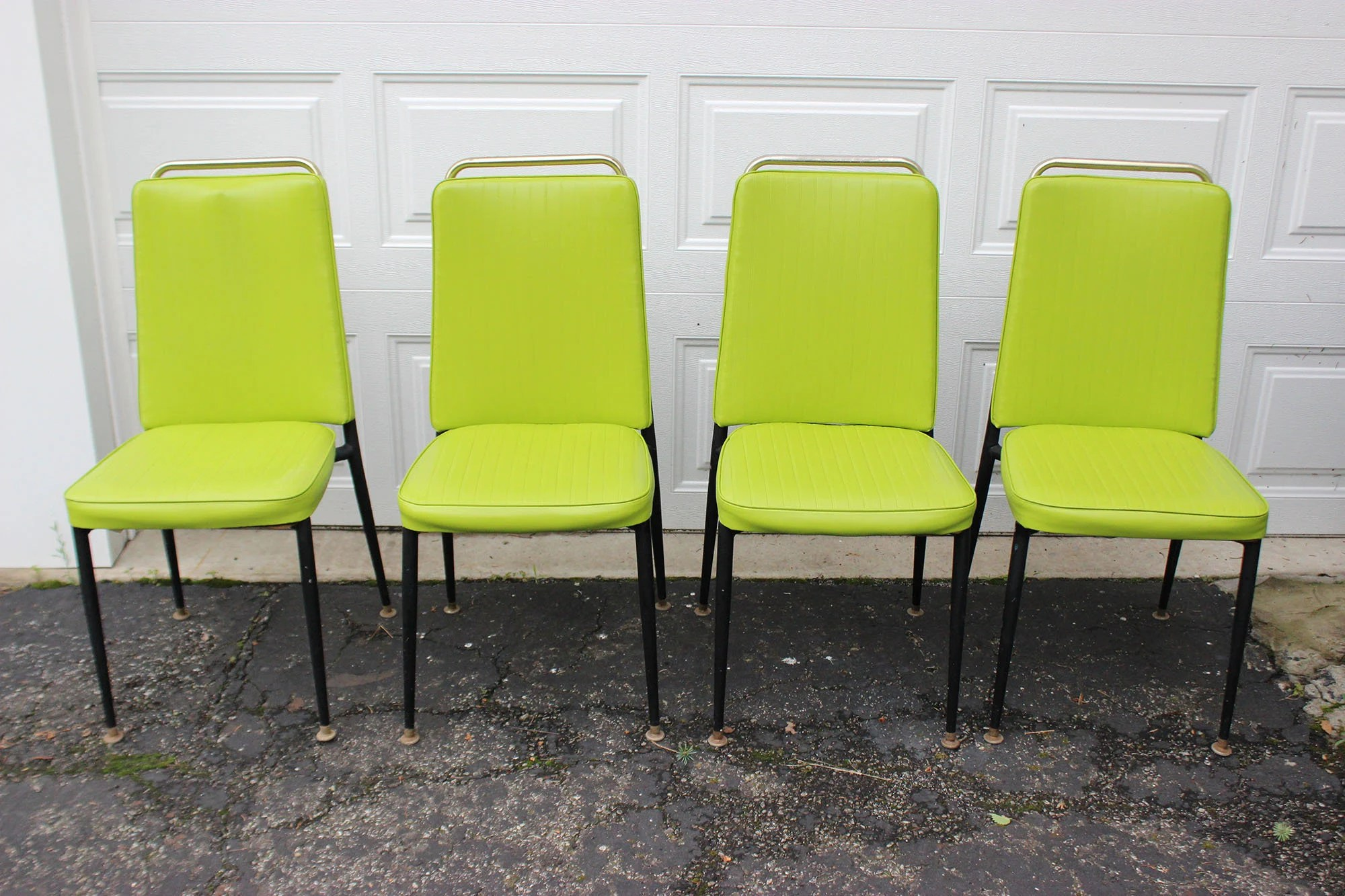 Lime Green Chairs Vintage Retro Lime Green Vinyl Dining Room Chairs Set Of 4