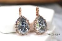 Dusty Blue Rose Gold Bridal Earrings Swarovski Crystal ...