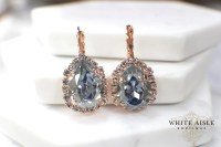 Dusty Blue Rose Gold Bridal Earrings Swarovski Crystal ...