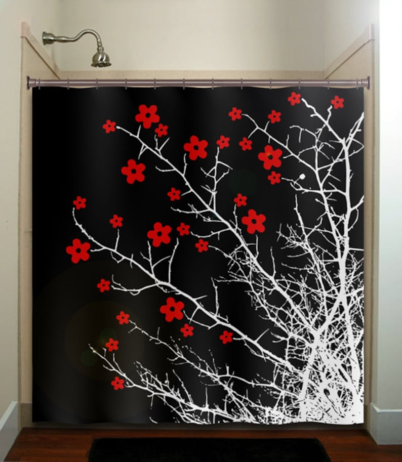 red cherry blossoms shower