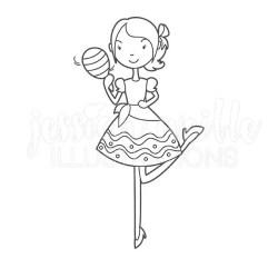 Fiesta Girl with Maraca Cute Digital Stamp Fiesta Girl Blackline Fiesta Lady Black and White Outline Cinco de Mayo Line Art #1620 by JW Illustrations Catch My Party