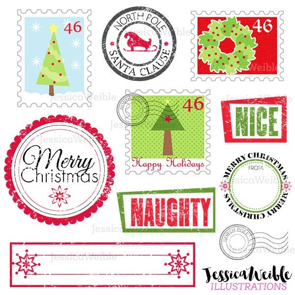 stamps from santa cute