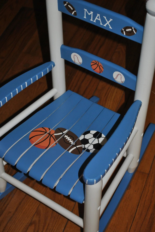 Handpainted Rocking Chair Kids Rocking Chairs Rocking Chair Nursery Furniture Baby Shower Toddler Gift Sports Baseball Football Soccer