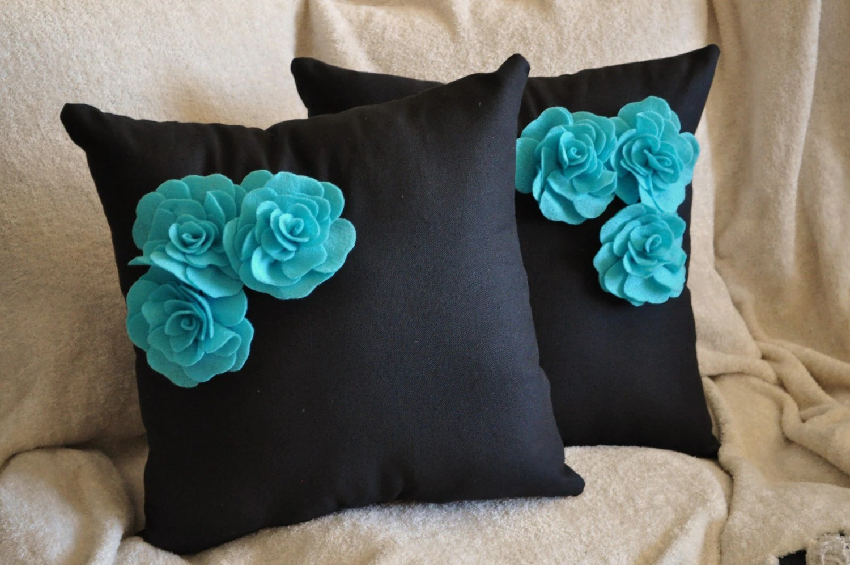 Two Decorative Pillows Turquoise Felt Rose Trio on Black