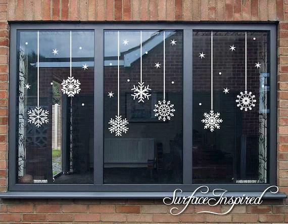 snowflake christmas window wall decals christmas decor etsy