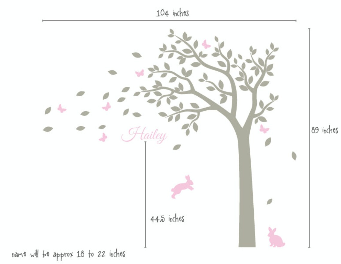 Nursery Wall Decals White Tree Wall Decal Large Tree Decal