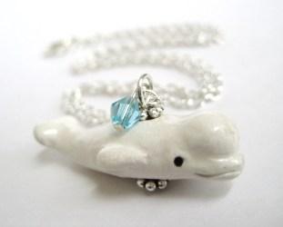 beluga whale baby jewelry necklace pendant long jewlery