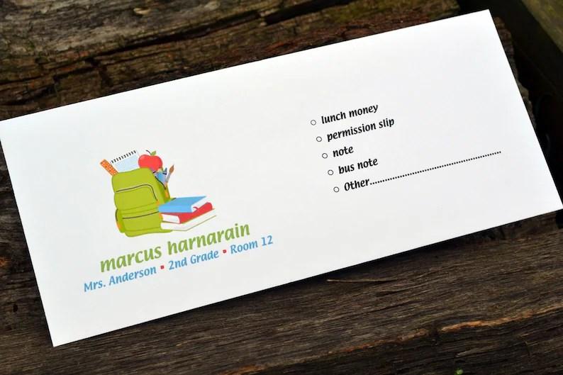 personalized school money envelope