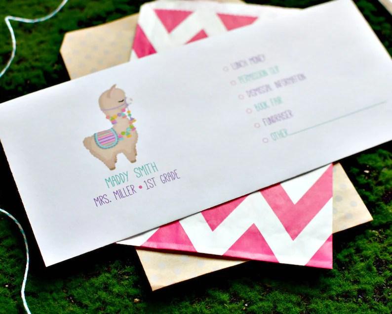 llama school envelopes personalized
