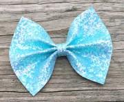 sky blue glitter hair bow