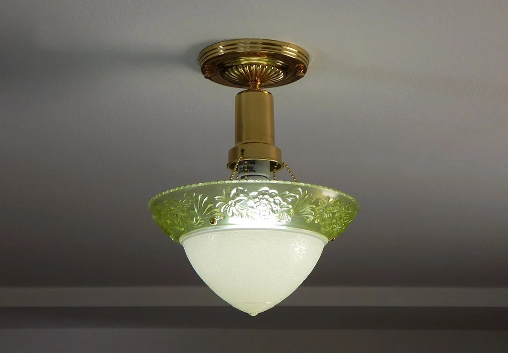 Vintage Depression Glass Brass Beaded Chain Ceiling Light