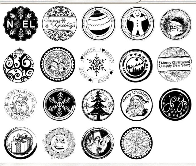 Christmas Circle Stamps  Inch Png Bottlecap Images  In Photoshop Brush Printable Digital Stamps Holiday Cards