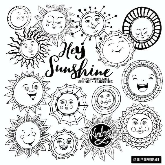 Sunshine Doodle Face Clipart, Summer Sun, Art Journal