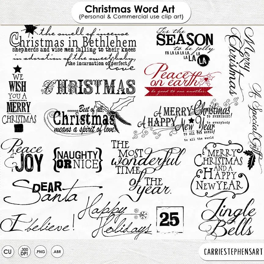 Christmas WordArt Christmas Scrapbook Titles Quote Digital