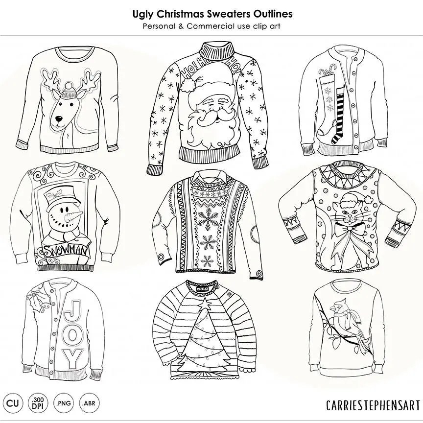Christmas Ugly Sweater Line Art Coloring Images Christmas