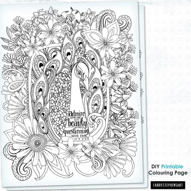 Peacock Colouring Page Adult Coloring Sheet Motivational