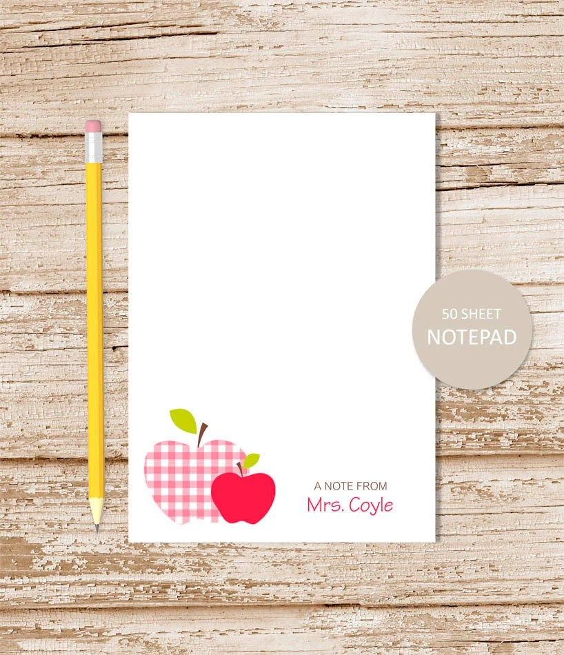 personalized teacher notepad apple