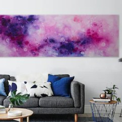 Contemporary Living Room Art Best Color For Etsy Large Abstract Painting Purple Blue On Canvas Horizontal Pink Modern Home Decor