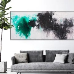 Art In Living Room Indian Summer Ideas Etsy Large Painting Abstract Emerald On Canvas Horizontal Wall