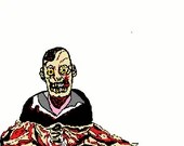 Zombie embroidery design, Zombie torso digitized embroidery design