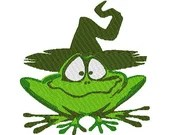Frog wearing witches hat digital embroidery design, Frog wearing witches hat digitized embroidery design