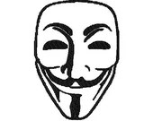 Anonymous mask digital embroidery design, Anonymous mask digitized embroidery design