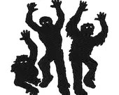 Zombies silhouette digital embroidery design, Zombies digitized embroidery design